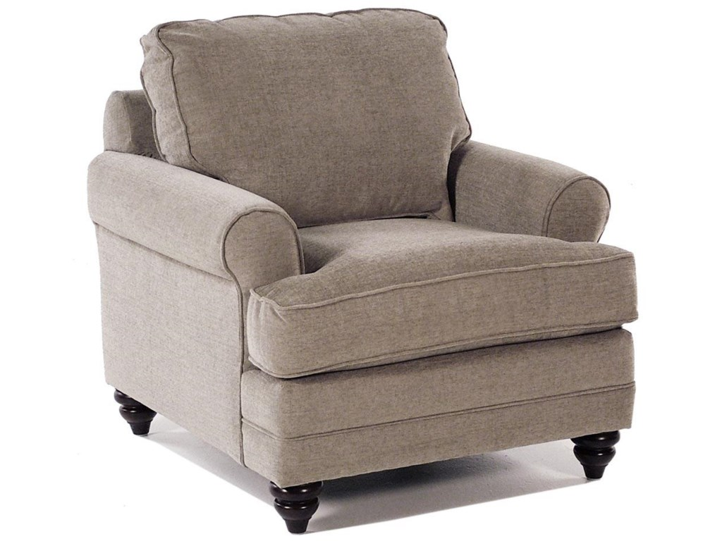 Custom upholstery loft customizable upholstered chair with sock arms and bun feet by bassett