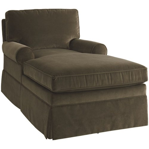 Bassett 2126 Transitional Chaise with Skirted Base