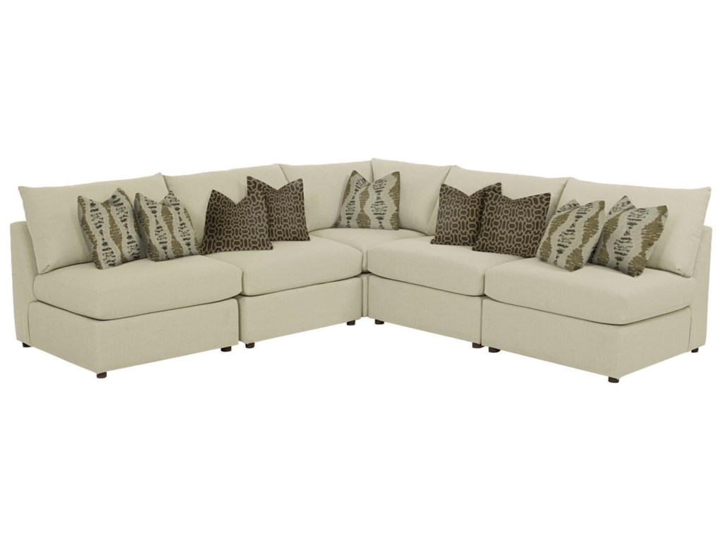 Bassett BeckhamBeckham 5 pc L-Shaped Sectional in Straw wit