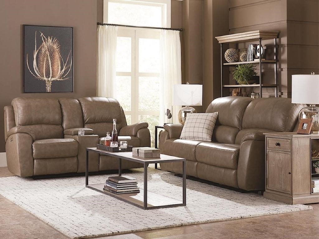 Bassett GodfreyMushroom Leather Power Reclining Sofa