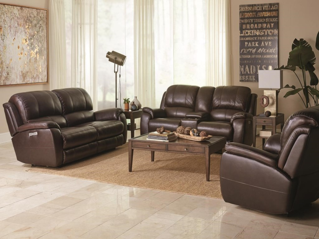 Bassett GodfreyBrown Leather Power Reclining Sofa