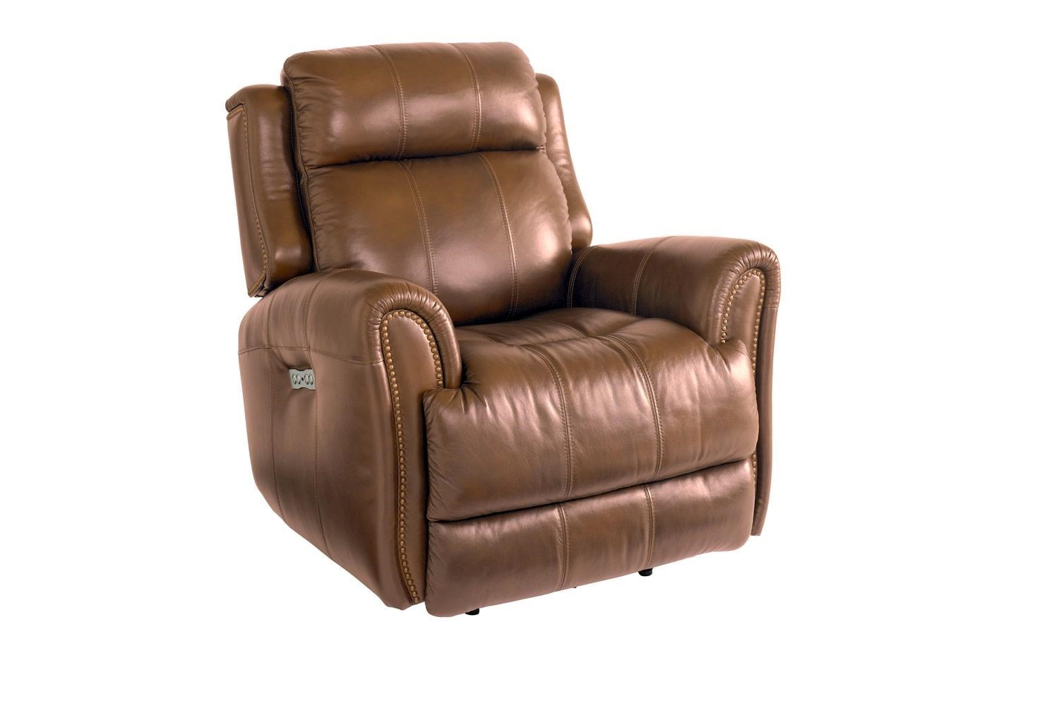 Bassett Marquee Umber Leather Power Wallsaver Recliner With Power  Headrest(color May Differ From Image)