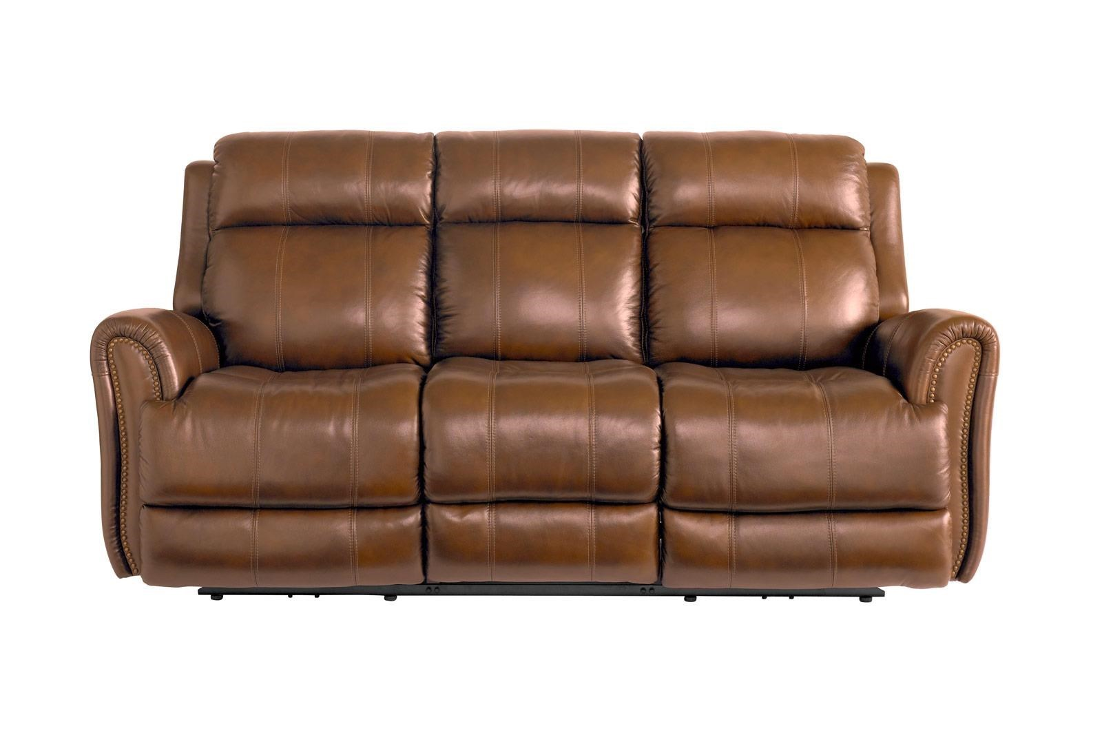 Bassett MarqueeLeather Pwr Reclining Sofa W/Pwr Headrest ...
