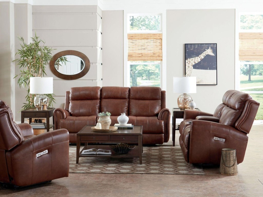 Bassett MarqueeLeather Pwr Reclining Sofa w/Pwr Headrest