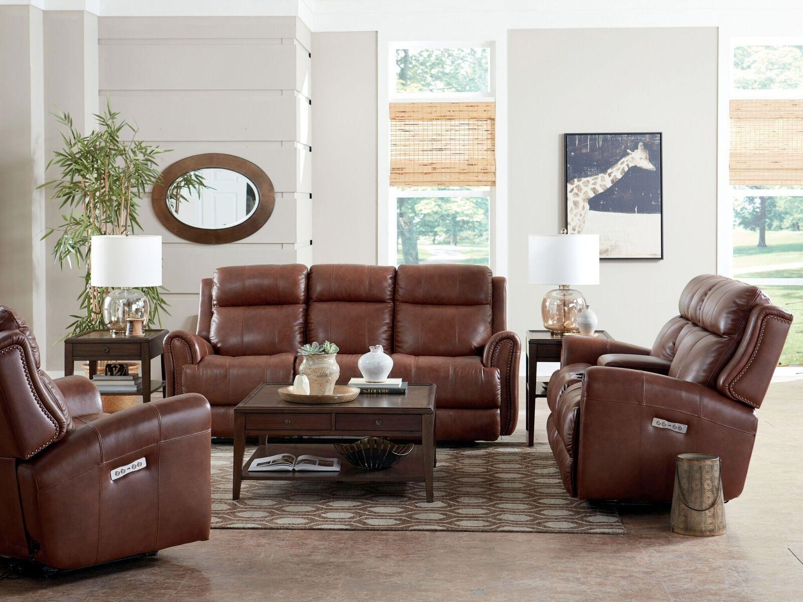 ... Bassett MarqueeLeather Pwr Reclining Sofa W/Pwr Headrest