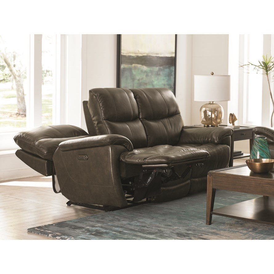 Picture of: Bassett Brookville Casual Power Reclining Sofa With Power Headrests And Usb Port Wayside Furniture Reclining Sofas