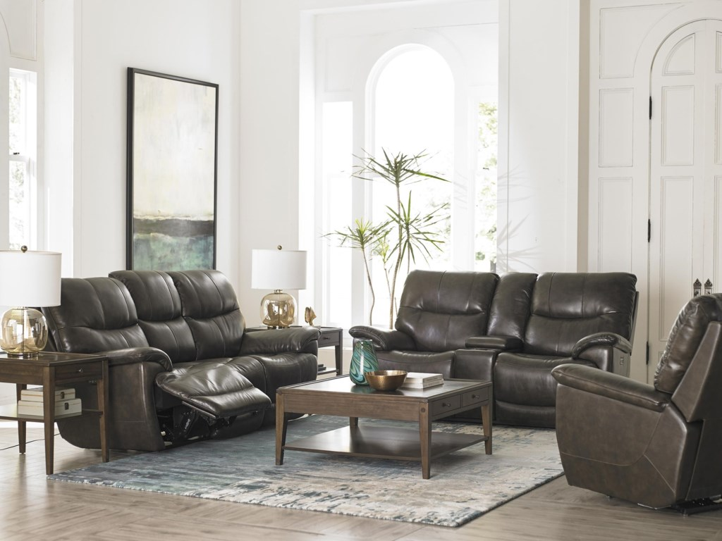 Bassett BrookvilleLeather Reclining Sofa With Power Head and F
