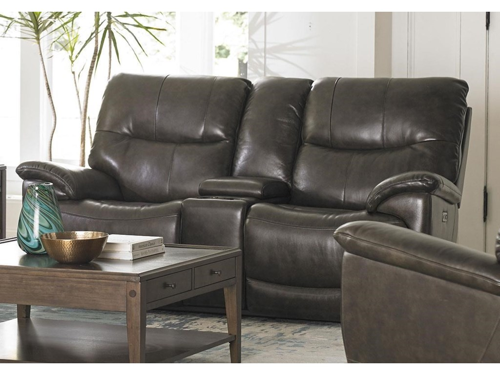 Bassett BrookvilleLeather Reclining Console Loveseat With Powe