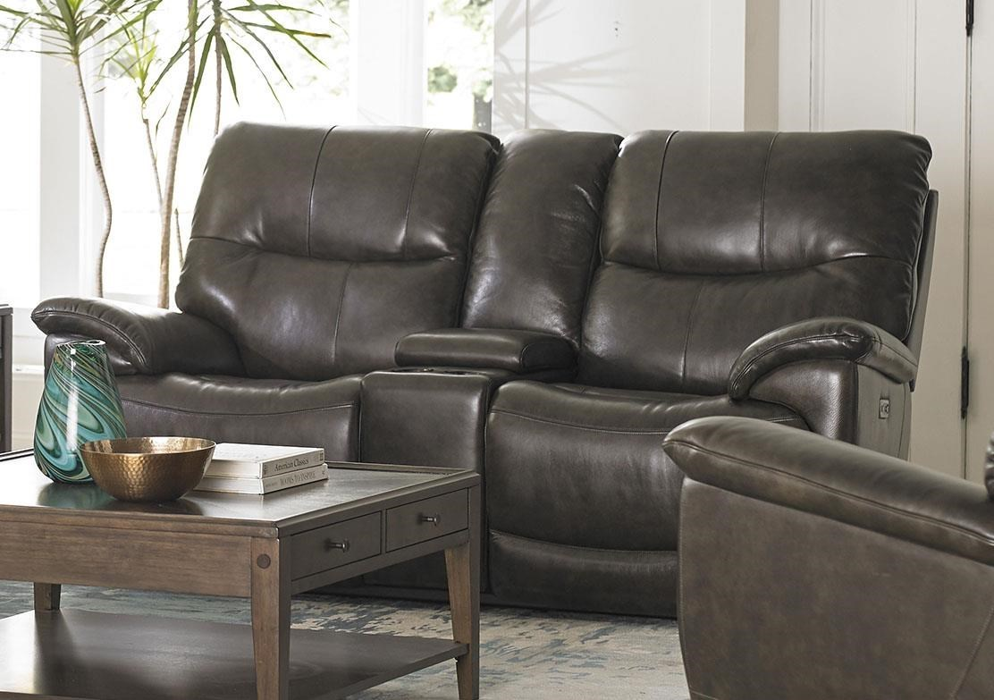 Bassett Brookville Leather Reclining Console Loveseat With Power Head and Foot - Great American Home Store - Reclining Love Seats & Bassett Brookville Leather Reclining Console Loveseat With Power ... islam-shia.org