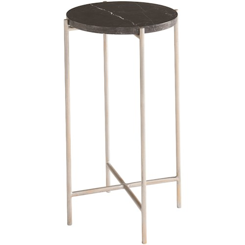 Bassett Iron & Stone Contemporary End Table with Handcrafted Mexican Marble and Stone Top