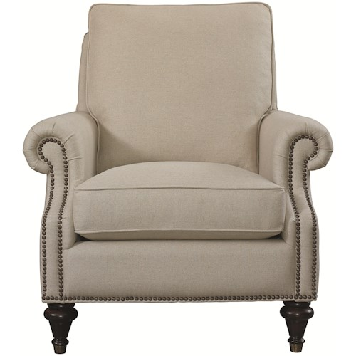 Bassett Oxford Traditional Accent Chair with Nailhead Trim