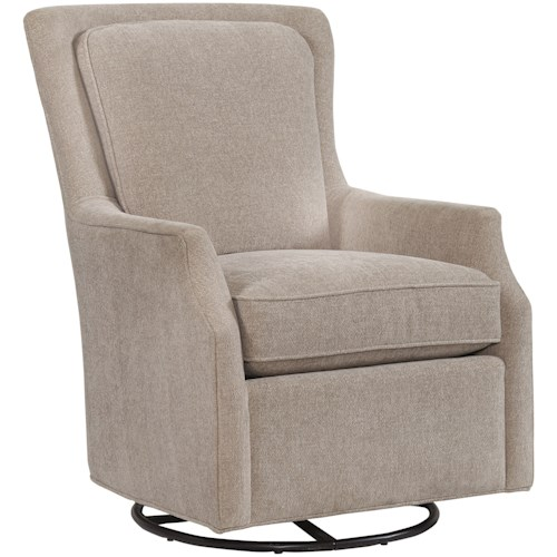 Bassett Accent Chairs Kent Accent Swivel Glider Chair with Wing Styled Back