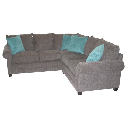 Bassett Alex 3989 Casual 2-Piece Sectional Sofa with Rolled Arms and Loose Pillow Back