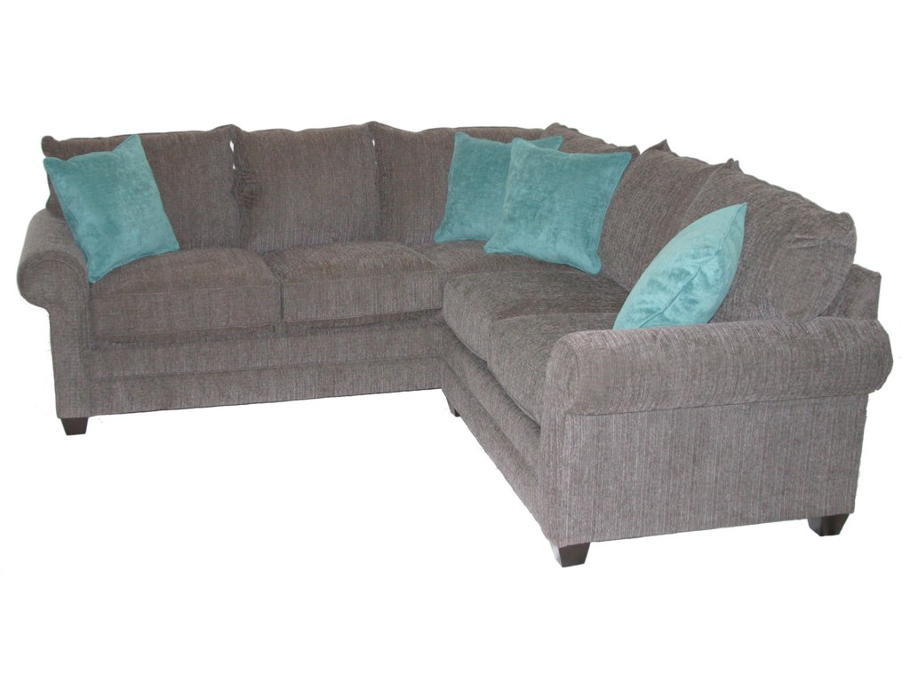 Bassett Alex 3989 Casual 2 Piece Sectional Sofa With Rolled Arms And