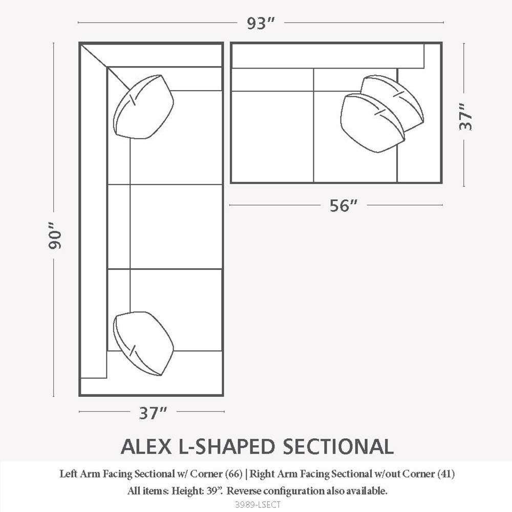 Bassett Alex 3989 3989-LSECT L-Shaped Sectional Sofa  sc 1 st  Great American Home Store : sofa sectional drawing - Sectionals, Sofas & Couches
