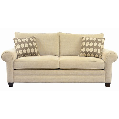 Bassett Alex Sofa with Exposed Wood Wedge Legs