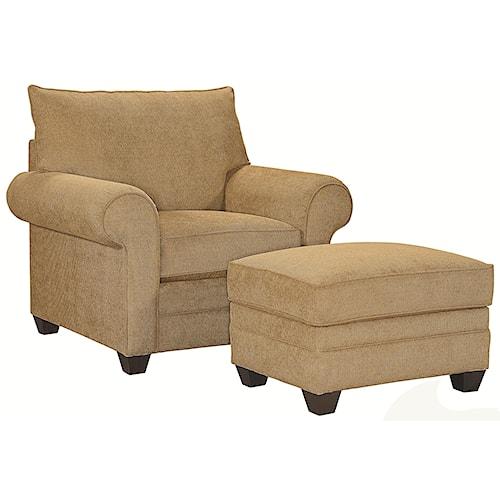 Bassett Alex Upholstered Chair and Ottoman Set