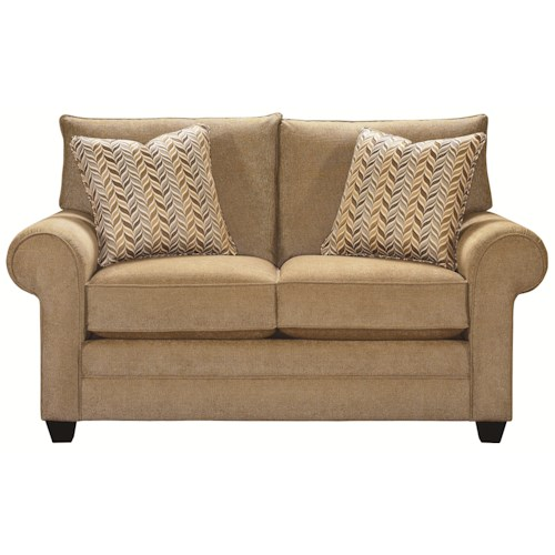 Bassett Alex Casual Loveseat with Exposed Wood Legs