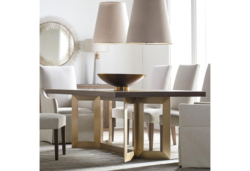 Bassett Modern Astor And Rivoli Modern 90 Dining Table With Metal Base Fashion Furniture Dining Tables