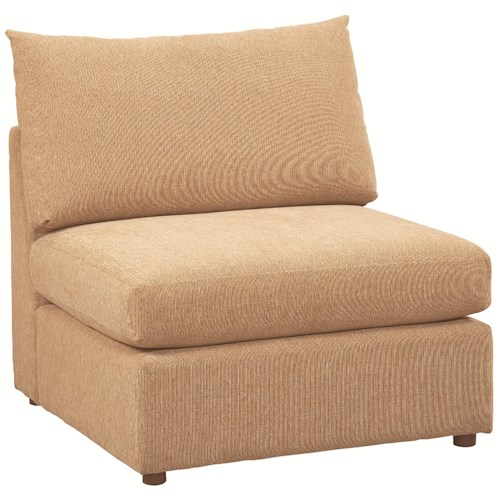 Bassett Beckham 3974 Armless Upholstered Chair with Loose Pillow Back and Seat Cushion