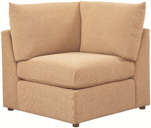 Bassett Beckham 3974 Armless Upholstered Corner Chair with Loose Pillow Back and Seat Cushion