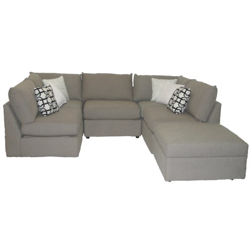 Bassett Beckham 3974 Transitional U-Shaped Sectional with Loose Pillow Back and Seat Cushions