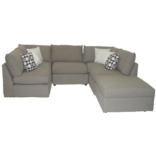 Bassett Beckham Transitional U-Shaped Sectional with Loose Pillow Back and Seat Cushions