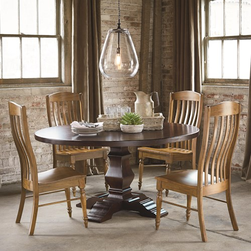 Four person round tavern table set bench made by bassett for 4 person dining table set