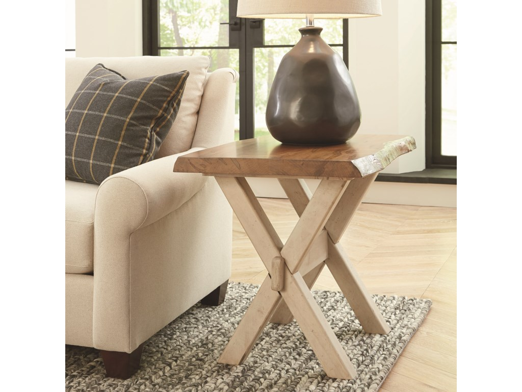 Bassett Bench MadeCross Buck Live Edge End Table