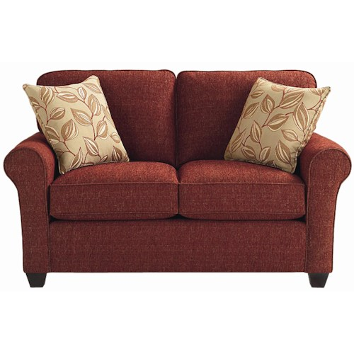 Bassett Brewster Upholstered Loveseat with Exposed Wood Feet