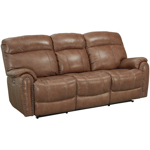 Bassett Bridgeport - Club Level Leather Match Power Motion Sofa with Power Headrests and Lumbar Support