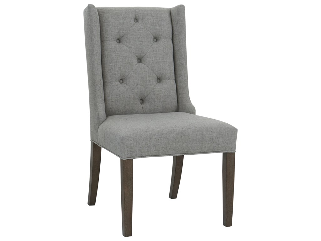 Bassett BrookeWing Back Side Chair with Tufted Back