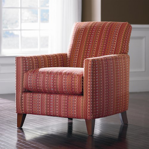 Bassett Bryce  Upholstered Fabric Accent Chair with Expose Wood Legs