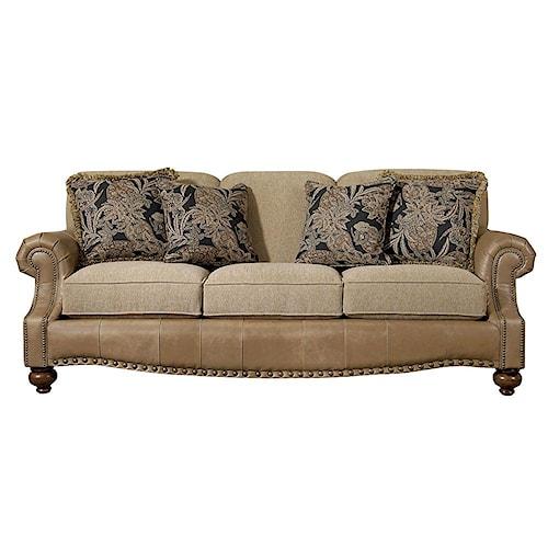 Bassett Club Room Stationary Sofa with Nail Head Trim
