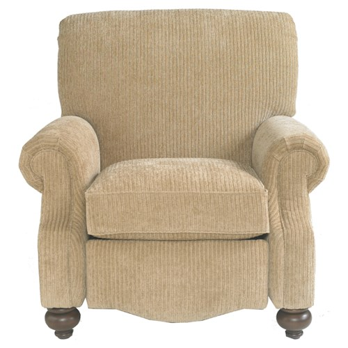 Bassett Club Room Recliner with Exposed Wood Feet