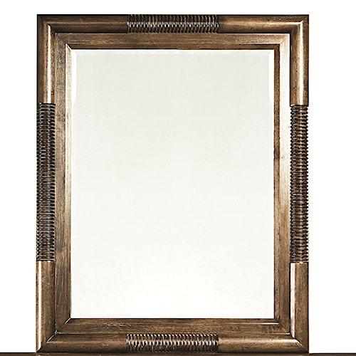 Bassett Compass Rectangular Landscape Mirror with Wooden Frame