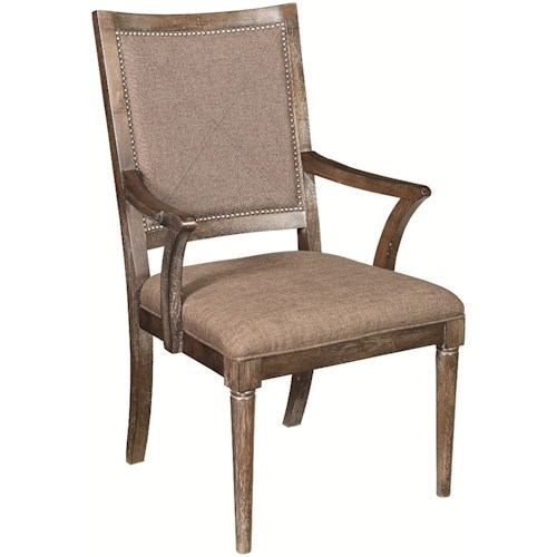 Bassett Compass Dining Arm Chair with Upholstered Seat and Back and Nailhead Trim