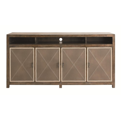 Bassett Compass Server with 4 Leather Doors and 2 Adjustable Wood Shelves and 1 Tray Drawer
