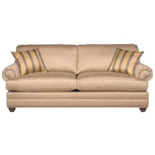 Bassett Custom Upholstery - Estate <b>Customizable</b> Stationary Sofa with Panel Arms and Turned Feet