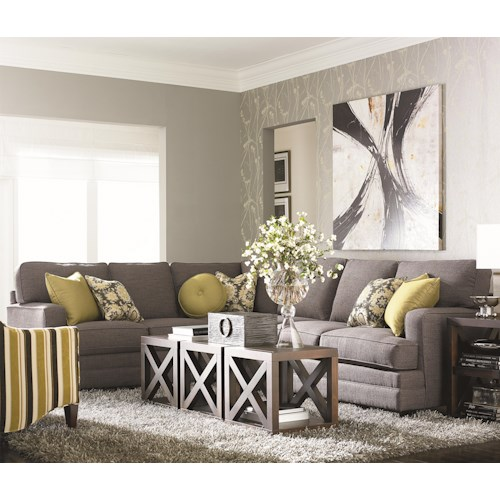 Bassett Custom Upholstery - Estate <b>Customizable</b> 2 pc. Sectional with Track Arms