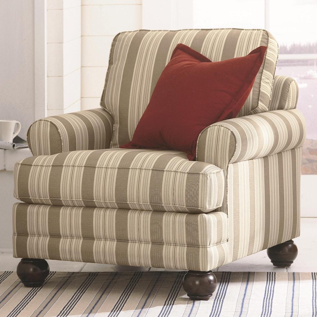 Bassett custom upholstery loft customizable upholstered chair with sock arms and bun feet