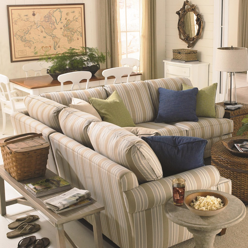 Bassett custom upholstery loft customizable 3 pc sectional with sock arms and tapered legs