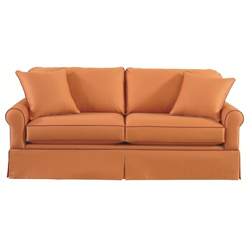 Bassett Custom Upholstery - Loft <b>Customizable</b> Stationary Sofa with Sock Arms and Skirt
