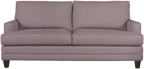 Bassett Custom Upholstery - Loft <b>Customizable</b> Stationary Sofa with Track Arms and Tapered Legs