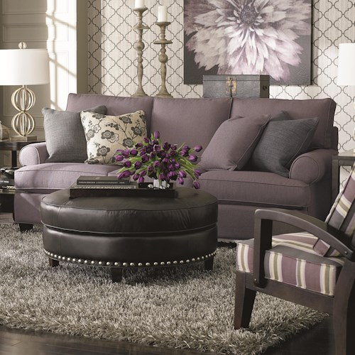 Bassett Custom Upholstery - Loft <b>Customizable</b> Stationary Sofa with Sock Arms and Tapered Feet