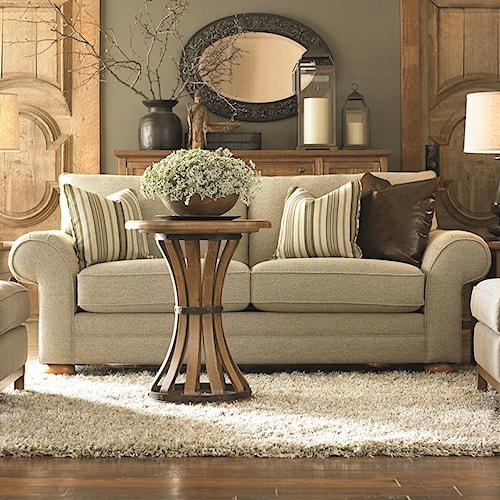 Bassett Custom Upholstery - Manor <b>Customizable</b> Loveseat with Sock Arms and Bun Feet