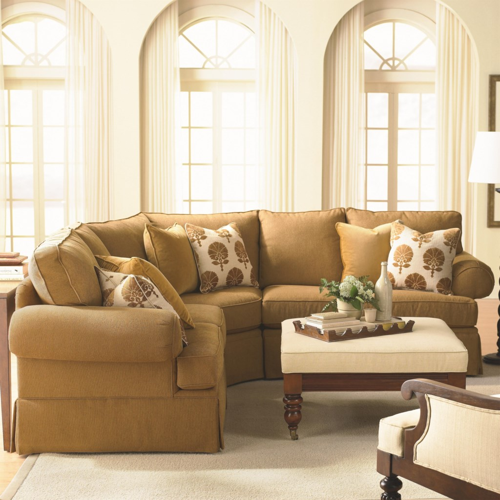 Custom upholstery manor customizable 3 pc sectional sofa with sock arms and skirt by bassett