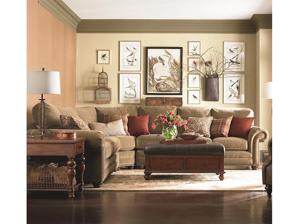 Bassett Custom Upholstery - Manor<b>Custom</b> 3 pc. Sleeper Sectional