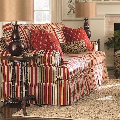 Bassett Custom Upholstery - Manor <b>Customizable</b> Stationary Sofa with Panel Arms and Skirt
