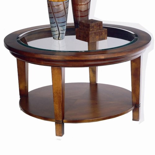 Bassett Easton Glass Top Round Cocktail Table with Shelf